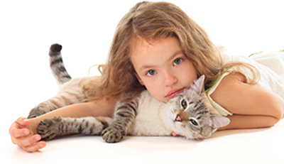 Adult cat with young girl